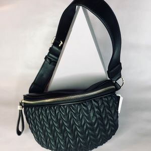 Quilted Waist Pack in Black